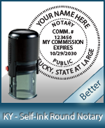 An affordable round self-inking notary stamp for Kentucky can be purchased quickly right here.