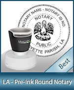 This High-quality Round Louisiana Notary stamp gives a clean, clear impression every time.