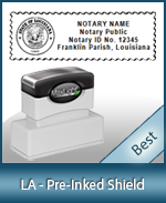 A High quality state emblem notary stamp with a stylish border for Louisiana.