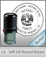 An affordable round self-inking notary stamp for Louisiana can be purchased quickly right here.