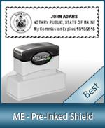 A High quality state emblem notary stamp with a stylish border for Maine.