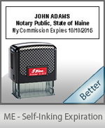 This durable, quality Notary commission stamp for Maine is available right here. Fast shipping!