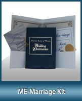 A marriage kit which includes a Marriage Handbook (A step by step guide for performing marriages), Ceremony Scripts, 10 blank marriage keepsake certificates, 10 gold foil seals and a white folder (not shown).