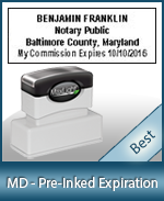 The Highest quality notary commission stamp for Maryland.