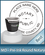 This High-quality Round Maryland Notary stamp gives a clean, clear impression every time.
