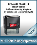 This durable, quality Notary commission stamp for Maryland is available right here. Fast shipping!