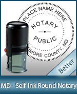An affordable round self-inking notary stamp for Maryland can be purchased quickly right here.