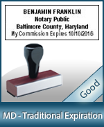 MD-COMM-T - Maryland Notary Traditional Expiration Stamp