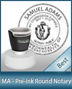 This High Quality Round Massachusetts Notary Stamp Gives A Clean Clear Impression Every Time