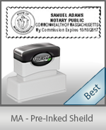 A High quality state emblem notary stamp with a stylish border for Massachusetts.