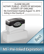 The Highest quality notary commission stamp for Michigan.