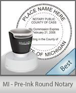 This High-quality Round Michigan Notary stamp gives a clean, clear impression every time.