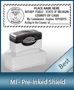 A High quality state emblem notary stamp with a stylish border for Michigan.