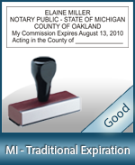 MI-COMM-T - Michigan Notary Traditional Expiration Stamp