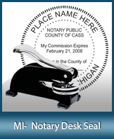 This sturdy Michigan Notary Desk Seal is made of steel construction and built to last.