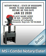 DATER-MS - Mississippi Notary Combination Date Stamp