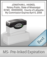 The Highest quality notary commission stamp for Mississippi.