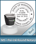 This High-quality Round Mississippi Notary stamp gives a clean, clear impression every time.