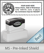 A High quality state emblem notary stamp with a stylish border for Mississippi.