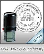 An affordable round self-inking notary stamp for Mississippi can be purchased quickly right here.