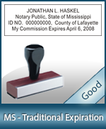 MS-COMM-T - Mississippi Notary Traditional Expiration Stamp