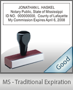 Mississippi Notary Traditional Expiration Stamp