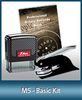 This affordable notary supply kit for Mississippi contains the basic required notary stamps.