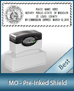 A High quality state emblem notary stamp with a stylish border for Missouri.