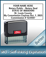 This durable, quality Notary commission stamp for Missouri is available right here. Fast shipping!