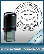 An affordable round self-inking notary stamp for Missouri can be purchased quickly right here.