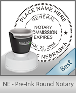 This High-quality Round Nebraska Notary stamp gives a clean, clear impression every time.