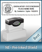 A High quality state emblem notary stamp with a stylish border for Nebraska.