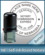 An affordable round self-inking notary stamp for Nebraska can be purchased quickly right here.