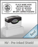 A High quality state emblem notary stamp with a stylish border for Nevada.