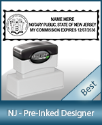A High quality state emblem notary stamp with a stylish border for New Jersey.
