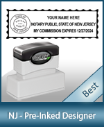 A High Quality State Emblem Notary Stamp With Stylish Border For New Jersey