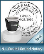 This High-quality Round New Jersey Notary stamp gives a clean, clear impression every time.