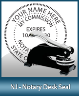 This sturdy New Jersey Notary Desk Seal is made of steel construction and built to last.