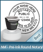 This High-quality Round New Mexico Notary stamp gives a clean, clear impression every time.