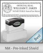 A High quality state emblem notary stamp with a stylish border for New Mexico.