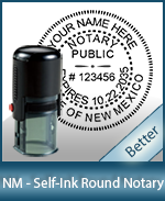 An affordable round self-inking notary stamp for New Mexico can be purchased quickly right here.