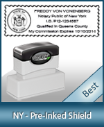 A High quality state emblem notary stamp with a stylish border for New York.