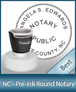 This High-quality Round North Carolina Notary stamp gives a clean, clear impression every time.