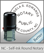 An affordable round self-inking notary stamp for North Carolina can be purchased quickly right here.