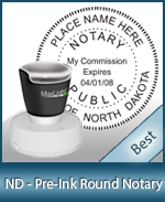This High-quality Round North Dakota Notary stamp gives a clean, clear impression every time.