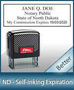 This durable, quality Notary commission stamp for North Dakota is available right here. Fast shipping!