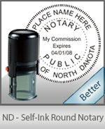 An affordable round self-inking notary stamp for North Dakota can be purchased quickly right here.