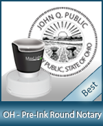 This High-quality Round Ohio Notary stamp gives a clean, clear impression every time.