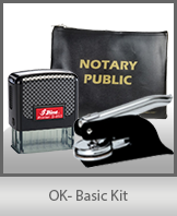 This affordable notary supply kit for Oklahoma contains the basic required notary stamps.