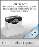 The Highest quality notary commission stamp for Oklahoma.